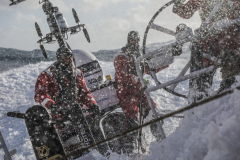 Leg 3, Cape Town to Melbourne, day 6, Wet and wild on board Sun Hung Kai/Scallywag. Photo by Konrad Frost/Volvo Ocean Race. 15 December, 2017.
