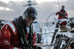 Leg 3, Cape Town to Melbourne, day 6, Alex Gough sorts the sheets on board Sun Hung Kai/Scallywag. Photo by Konrad Frost/Volvo Ocean Race. 15 December, 2017.