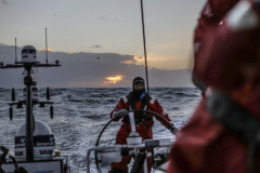 Leg 3, Cape Town to Melbourne, day 6, Sunset on board Sun Hung Kai/Scallywag. Photo by Konrad Frost/Volvo Ocean Race. 15 December, 2017.