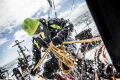Leg 3, Cape Town to Melbourne, day 14, on board Dongfeng. Heading north with a good breeze. Black managing the pit under the waterfall. Photo by Martin Keruzore/Volvo Ocean Race. 23 December, 2017.