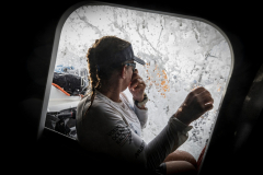 Leg 6 to Auckland, day 11 on board Turn the Tide on Plastic. Dee Caffari holding her nose for the next wave. 17 February, 2018.