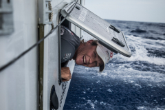 Leg 6 to Auckland, day 12 on board Dongfeng. Carolijn Brouwer at the back of the boat making some funny stuff for me. 18 February, 2018.