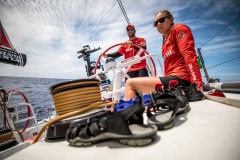 Leg 02, Lisbon to Cape Town, day 12, on board MAPFRE Pablo Arrarte helming and Sophie Ciszek next to him. Photo by Ugo Fonolla/Volvo Ocean Race. 16 November, 2017