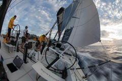 Leg 02, Lisbon to Cape Town, day 12. Sailing down the coast of Brazil on board Turn the Tide on Plastic. Martin Stromberg at the helm. Photo by Sam Greenfield/Volvo Ocean Race. 16 November, 2017