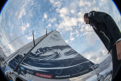 Leg 02, Lisbon to Cape Town, day 12. Sailing down the coast of Brazil on board Turn the Tide on Plastic. Henry Bomby looking at the sky. Photo by Sam Greenfield/Volvo Ocean Race. 16 November, 2017