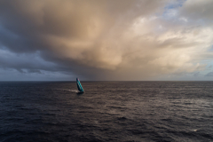 Leg 02, Lisbon to Cape Town, day 13, on board AkzoNobel. The team past through a mixture of cloud systems early this morning, always searching for the wind they can produce. Photo by James Blake/Volvo Ocean Race. 17 November, 2017.