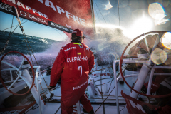 Leg 02, Lisbon to Cape Town, day 01, start on board MAPFRE. Photo by Ugo Fonolla/Volvo Ocean Race. 05 November, 2017