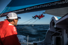 Leg 02, Lisbon to Cape Town, day 00, on board Vestas 11th Hour. Photo by Martin Keruzore/Volvo Ocean Race. 05 November, 2017.